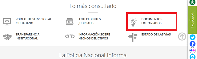 SIDEX denunciar perdida de documentos