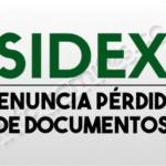 SIDEX PERDIDA DE DOCUMENTOS