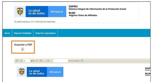 exportar a PDF RUAF SISPRO