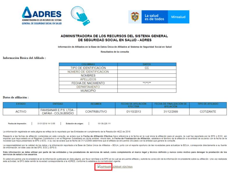 Descargar Certificado ADRES FOSYGA