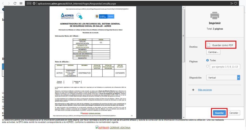 Como descargar certificado ADRES