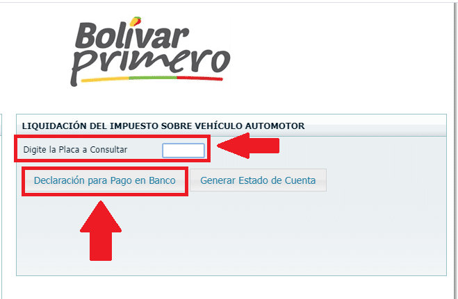 Bolivar Digitar Y Consultar La Placa Para Pago Impuesto