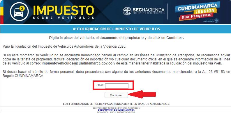 Cundinamarca Consultar Impuesto Vehicular Por Placa