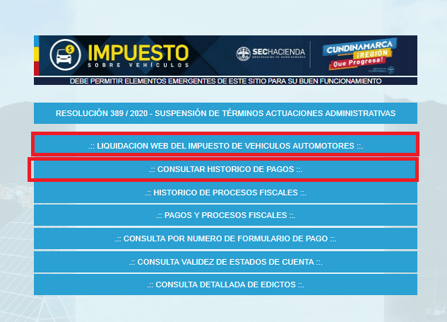Cundinamarca Consultar Liquidación Pagos
