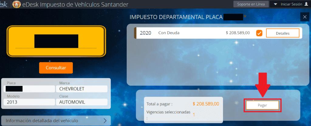 Santander Procesar Pago Impuesto