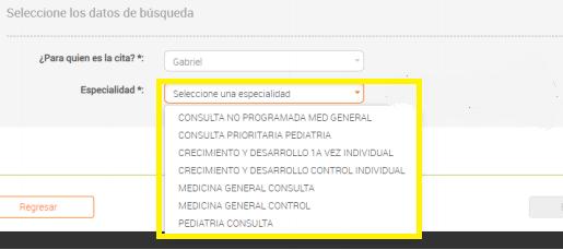 Seleccione Servicio Médico Requerido